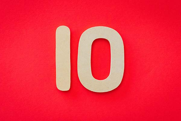 Number 10 on red background