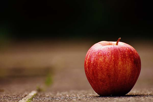 Red apple on ground