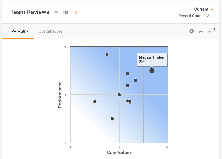 Current Team Review Performance Values Matrix