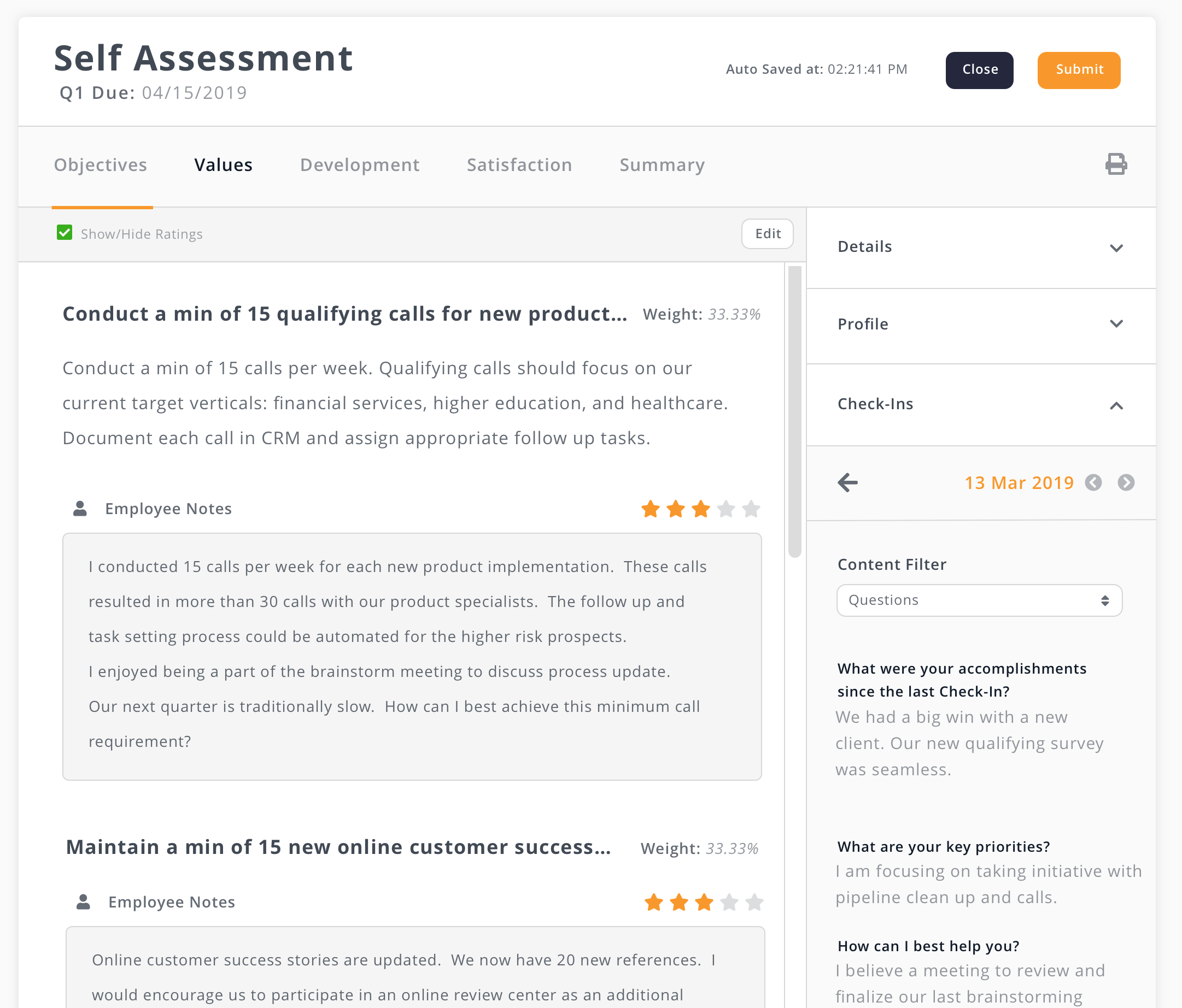 Self-Assessment Screenshot