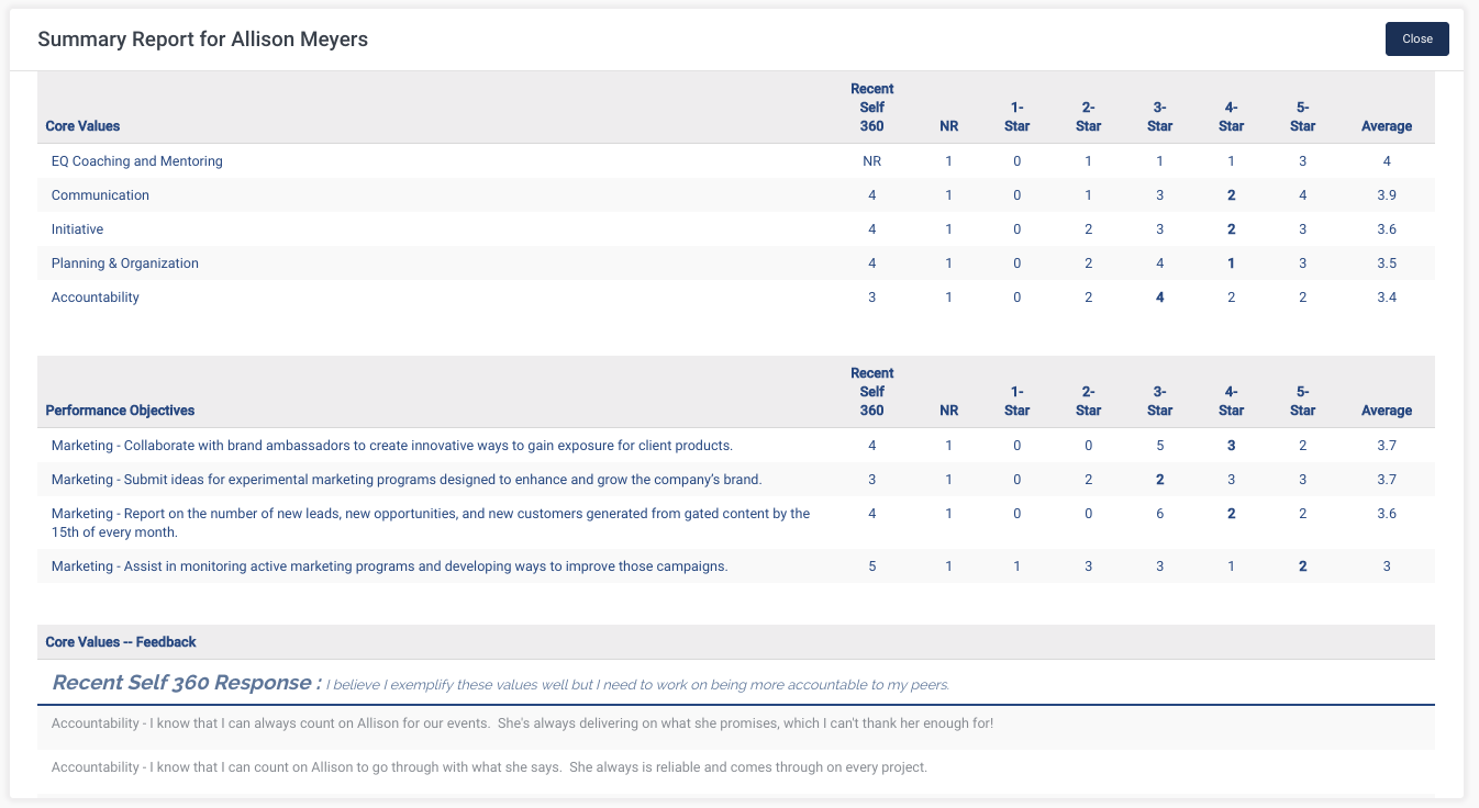 360 degree feedback report screenshot