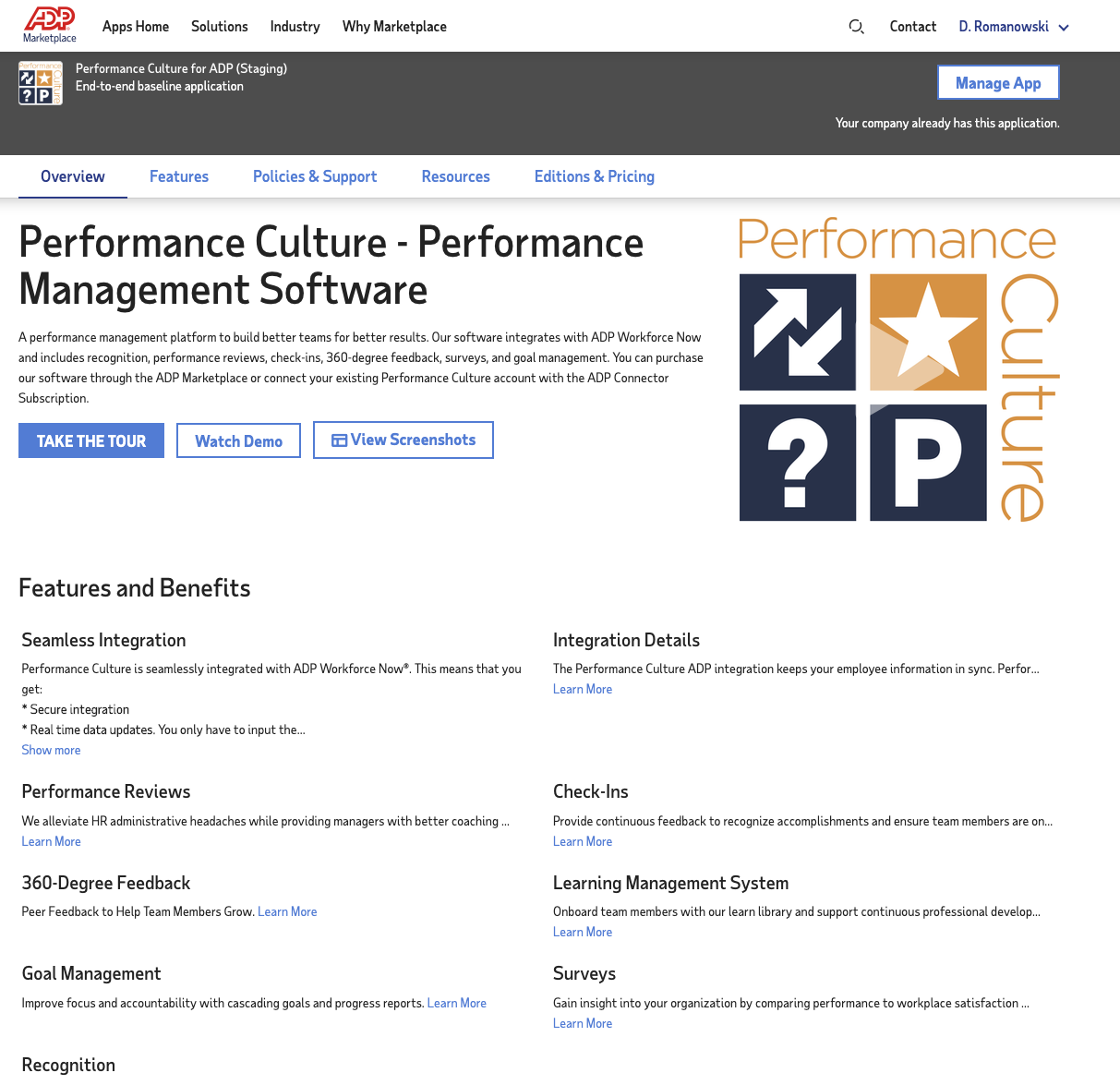 Performance Culture ADP Marketplace Listing
