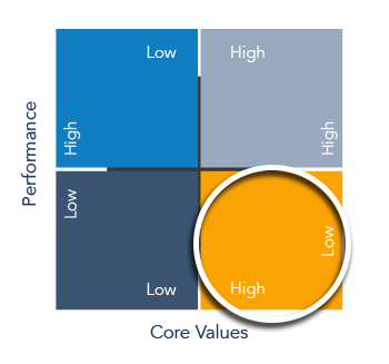Performance-Values Matrix circling potential quadrant