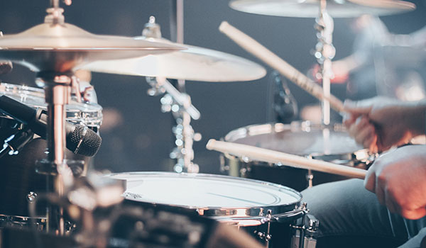 Drummer playing the drums